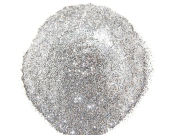 Ultrafine Silver SOLVENT RESISTANT Glitter 0.008 Hex - 1 Fl. Ounce for Glitter Nail Art , Glitter Nail Polish & Glitter Crafts
