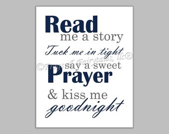 Read Me a Story Tuck Me in Tight Say a Sweet Prayer and Kiss Me Goodnight navy gray canvas print wall art