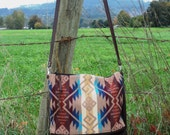 North by Northwest Crossbody Messenger Purse //  Pendleton Wool and Brown Leather // Rosebud Originals