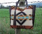 Made to Order // North by Northwest Tote Bag // Tribal Pendleton Wool Brown Leather Tassel // Rosebud Originals