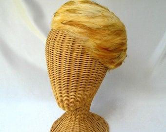 Vintage Ladies Feather Hat Tan Orange Toque Mr. Kurt Original