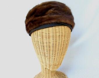 Vintage Ladies Fur Hat Mink Toque Black Satin