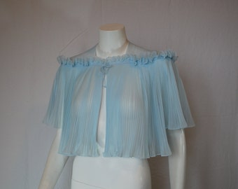 1950s Vanity Fair Blue Capelet Bed Jacket Cape,  Medium