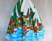 1940s hand painted artist signed Mexican circle skirt - 40s colorful cotton full skirt - M/L