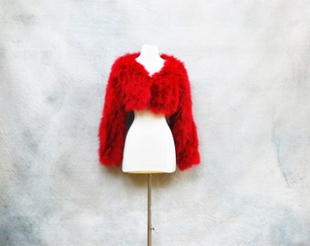 Vintage 70s bright red faux fur bolero jacket - 1970s mod shaggy short coat - medium / large