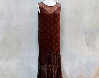 Antique 20s deco flapper dress- roaring 20s  brown lace beaded cocktail Gatsby dress - small / medium