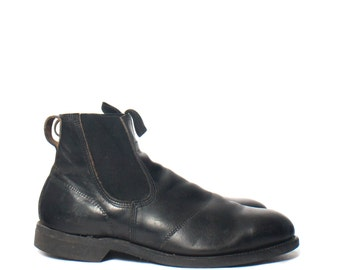 10 R | Men's Vintage Work Boots Steel Toe Chelsea Boot in Black Leather