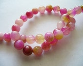 Jade Beads Gemstone Pinks and Gold  Round 8MM