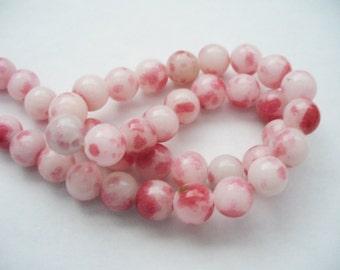 Jade Beads Gemstone Reds Pinks and Whites  Round 8MM