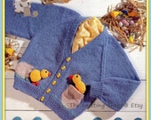 PDF Knitting Pattern for a Babies and Child's Sweet Little Easter Chick Cardigan & Soft Toy - Instant Download