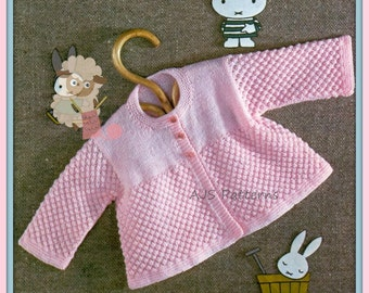 PDF Knitting Pattern for Baby Matinee Coat in Blackberry Stitch - Instant Download