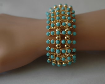 Turquoise bracelet, Stretch Turquoise and Gold Bracelet, Gift for Her, Gold and Turquoise stretch bracelet