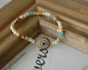Evil Eye, Evil Eye Bracelet, Blue evil eye , Stretch Crystal Evil Eye, Gift for her, Good Luck Bracelet