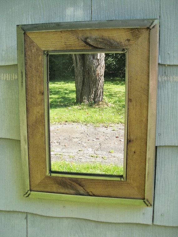 Medium Rustic Industrial Metal Trim Barn Wood Mirror No 1520