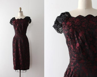 CLEARANCE vintage 1950s dress // 50s black brocade wiggle dress