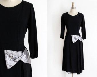 vintage 1940s dress // 40s black crepe evening dress with big bow