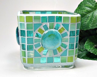 Stained glass mosaic votive candle holder aqua lime green