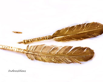 GOLDEN Feather Quill DIP Pen, Golden Feather pen, Quill Pen, calligraphy pen, Gift Ideas For Him, gift for writer