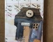 """SALE - Teeny Tiny Button House - TTBH009 """"peaceful"""""""