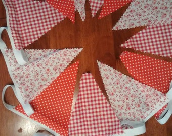 Decorative Fabric Bunting Handmade 3M 12 flag  Red Floral,Gingham,Spot. Ideal for any Room