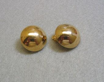 Gold Button Clip Earrings, Vintage Petite, 1960s