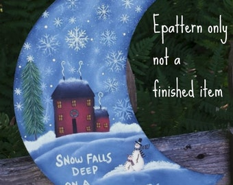 EPATTERN, #0053 Wintery Night Moon, paint your own, digital download, painting pattern, snowman pattern, moon pattern, winter decor