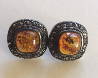 Elegant Sterling Silver Golden Amber and Marcasite Pierced Post Earrings