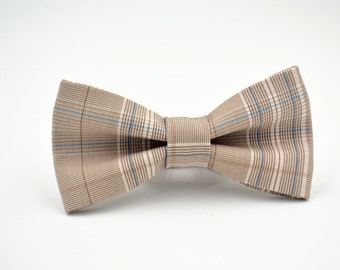 Mens Bowtie Neutral Plaid Suiting, Beige Bow Tie, Tan Bow Tie, Light Brown Bow Tie, Plaid Bow Tie, Groomsmen Bow Tie, Wedding Bow Ties