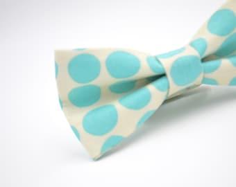 Mens Bowtie, Mint Polka Dot Bow Tie, Mint Bow Tie, Aqua and Cream Bow Tie, Polka Dot Bow Tie