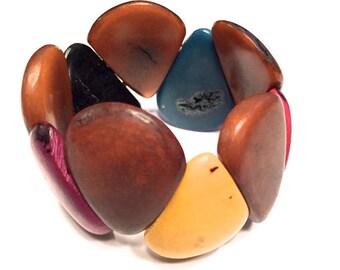 Colorful Tagua Bracelet - Eco-Friendly - Boho- Bohemian/ Folk Style Jewelry