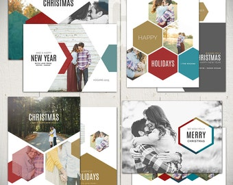 Christmas Card Templates: Sweet And True - Set of Four 5x7 Holiday Card Templates for Photographers