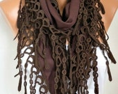 Brown Scarf  Oversize Scarf Chocolate Pashmina Scarf Fringe Scarf Cotton Scarf  Cowl Gift Ideas For Her Women Fashion Accessories - fatwoman