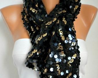 Black Sequin Scarf,Shiny Shawl,Wedding,Bridal Shawl,Bridesmaid Gift, Cowl,Formal Night date - Gift Ideas For Her,Women Fashion Accessories