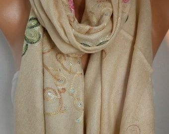 Neutral Beige Embroidered Scarf,Fall,Wedding Shawl,Cowl, Bridesmaid gift, Bridal Scarf Gift Ideas For Her, Women Fashion Accessories,Scarves
