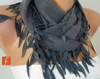 Gray leaves Pashmina Scarf, Winter Scarf, Cowl Scarf, Gift Ideas For Her, Women Fashion Accessories,Christmas Gift,Best selling item