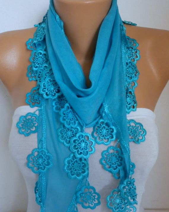 Blue Cotton Scarf, Fall Fashion Scarf, Necklace, Shaw,l Gift Ideas For Her, Women Fashion Accessories