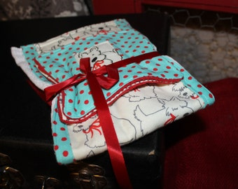 burp rag and 2 washcloths Scottie Dogs & Polky dots Ready to ship great baby shower gift