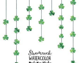 Shamrock Clipart, Green Watercolor St. Patrick's Day Clip Art, Commercial Use Instant Digital Download