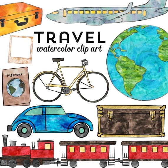 Travel Clipart, Watercolor Travel Clip Art, Instant Download ...