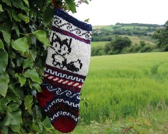Knitted Woolen Christmas Stocking Fox Fair Isle Navy Blue Holiday Sock Handknit Unique Xmas Decor (Ready to Ship) PWB