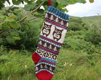 Knitted Owl Christmas Stocking Holiday Xmas Handknit Stocking Fair Isle (Ready to Ship) Ornament Decoration Modern Christmas LBR