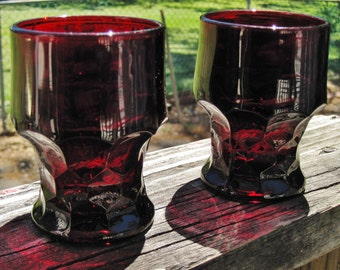 Early Anchor Hocking Royal Ruby Glass 5oz. Flat Tumblers