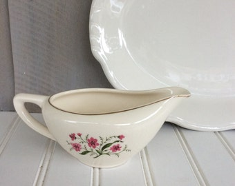 Vintage China Creamer / Gold Rimmed Pink Floral Creamer / Cosmo Pattern / Coupe Creamer