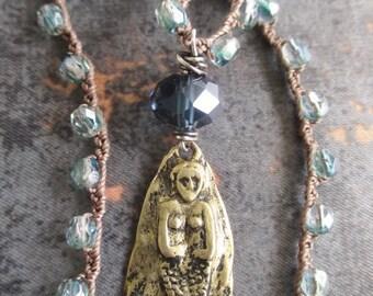 Mermaid crochet necklace - Hidden Heart - ocean blue artisan vermeil nautical beach boho summer chic by slashKnots