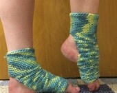Yoga Socks in Soft Knit in Bluegrass Blue -- for Yoga, Dance, Pilates, Pedicures
