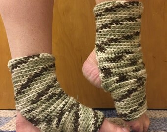 Yoga Socks in Neutral Camo -- for Dance, Yoga, Pedicures, Pilates.