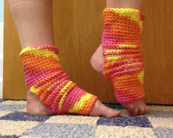 Yoga Socks in Tropical Brights Cotton US Grown -- for Yoga, Dance, Pilates, Pedicures