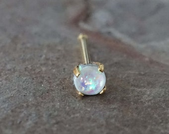 White Opal Gold Nose Ring Tiny Gold Nose Stud Prong Set
