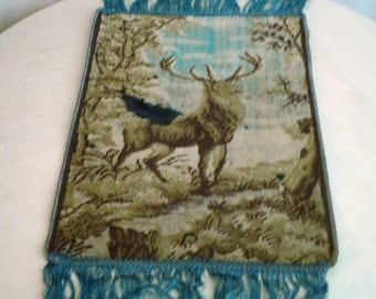 1920's Vintage Fringed Table Runner Tapestry with Stag and Fringe