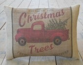 Christmas Trees Burlap Pillow, Vintage Truck, Rustic Christmas, Shabby Chic, INSERT INCLUDED